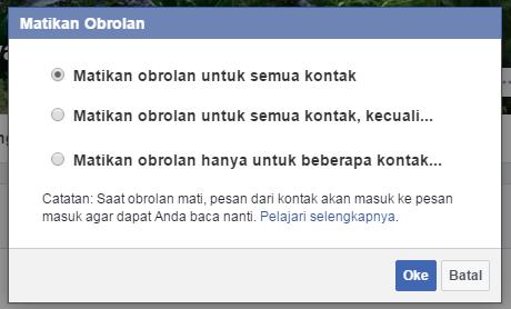 Trik agar terlihat online di Facebook chat hanya untuk teman tertentu 2