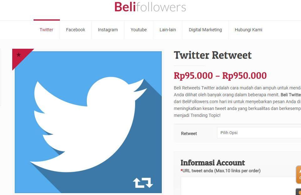 jasa tambah twitter retweet belifollowers