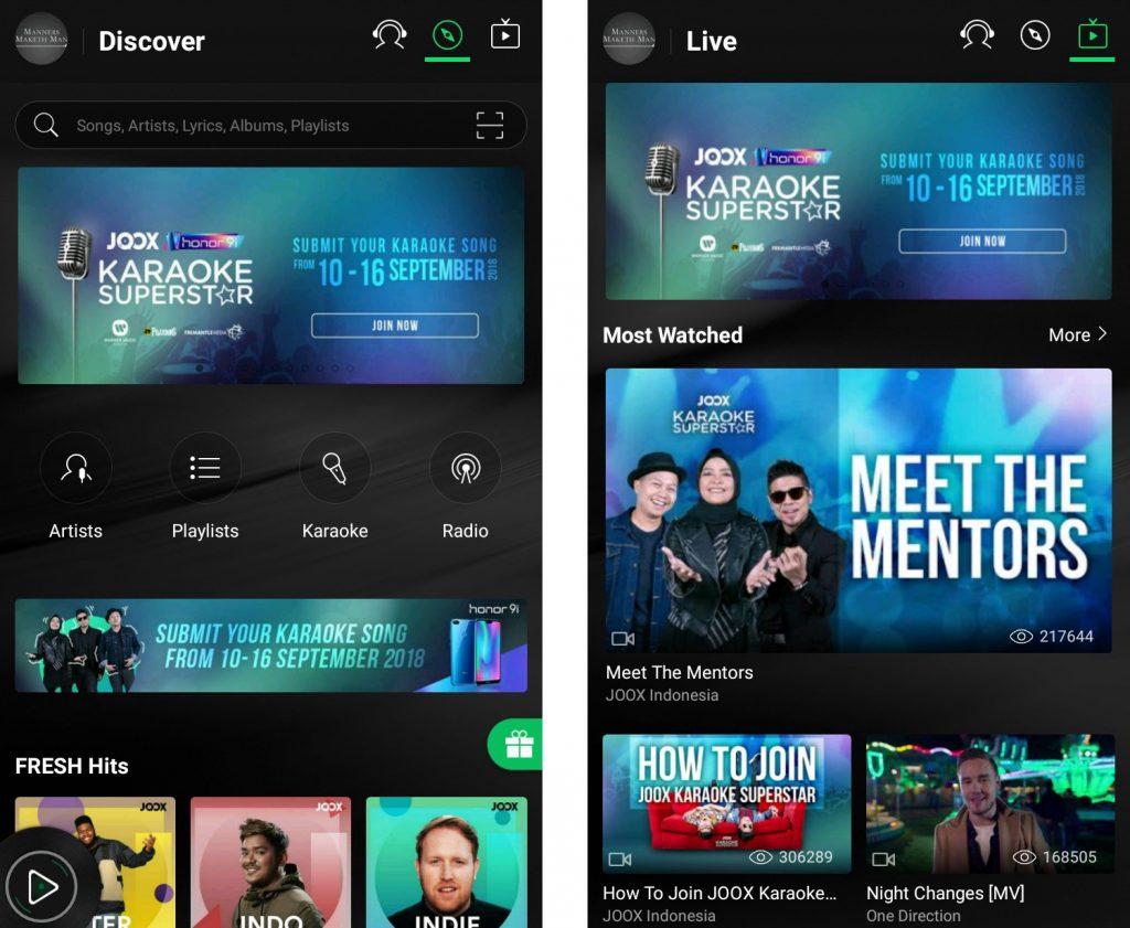 Tampilan dari aplikasi Joox dan Joox Live Streaming